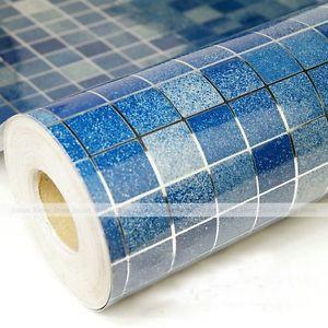 Blue Mosaic Aluminum Foil Oilproof Tiles Kitchen Vinyl
