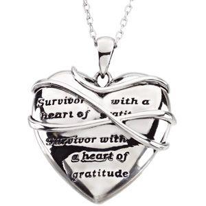 Sterling Silver Survivor With A Heart Of Gratitude Necklace Survivor Jewelry Cancer Survivor Survivor