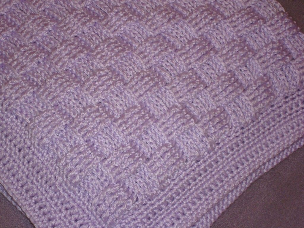 Basket Weave Knitting Pattern Baby Blanket : Cousin crystal s crocheted basket weave baby blanket