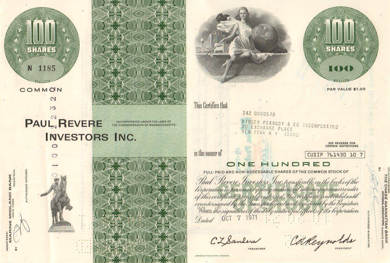 Paul Revere Investors 1971 Insurance And Investing Investing