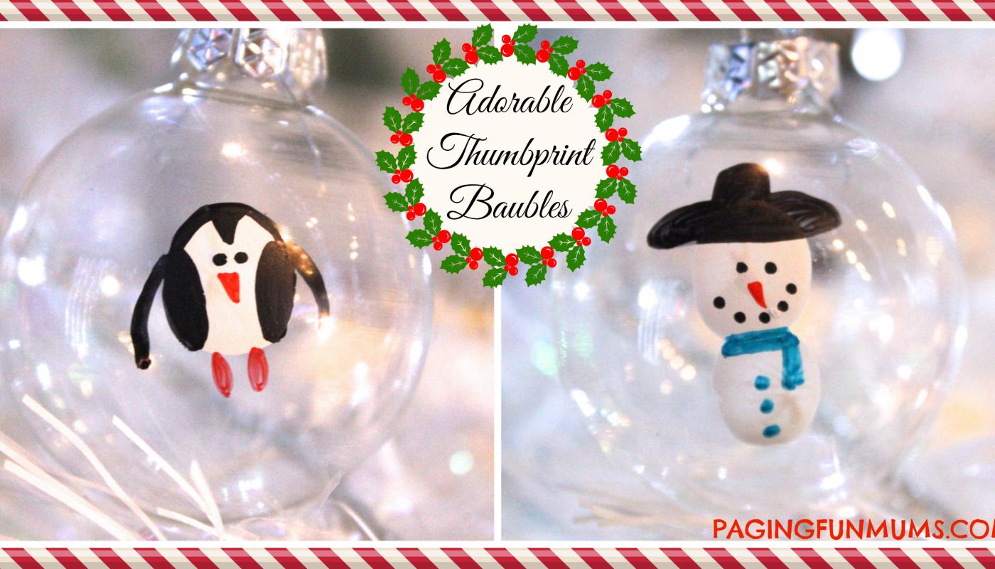 Adorable Snowman Penguin Thumbprint Baubles Paging Fun Mums Handmade Christmas Handmade Christmas Ornaments Christmas Crafts For Kids