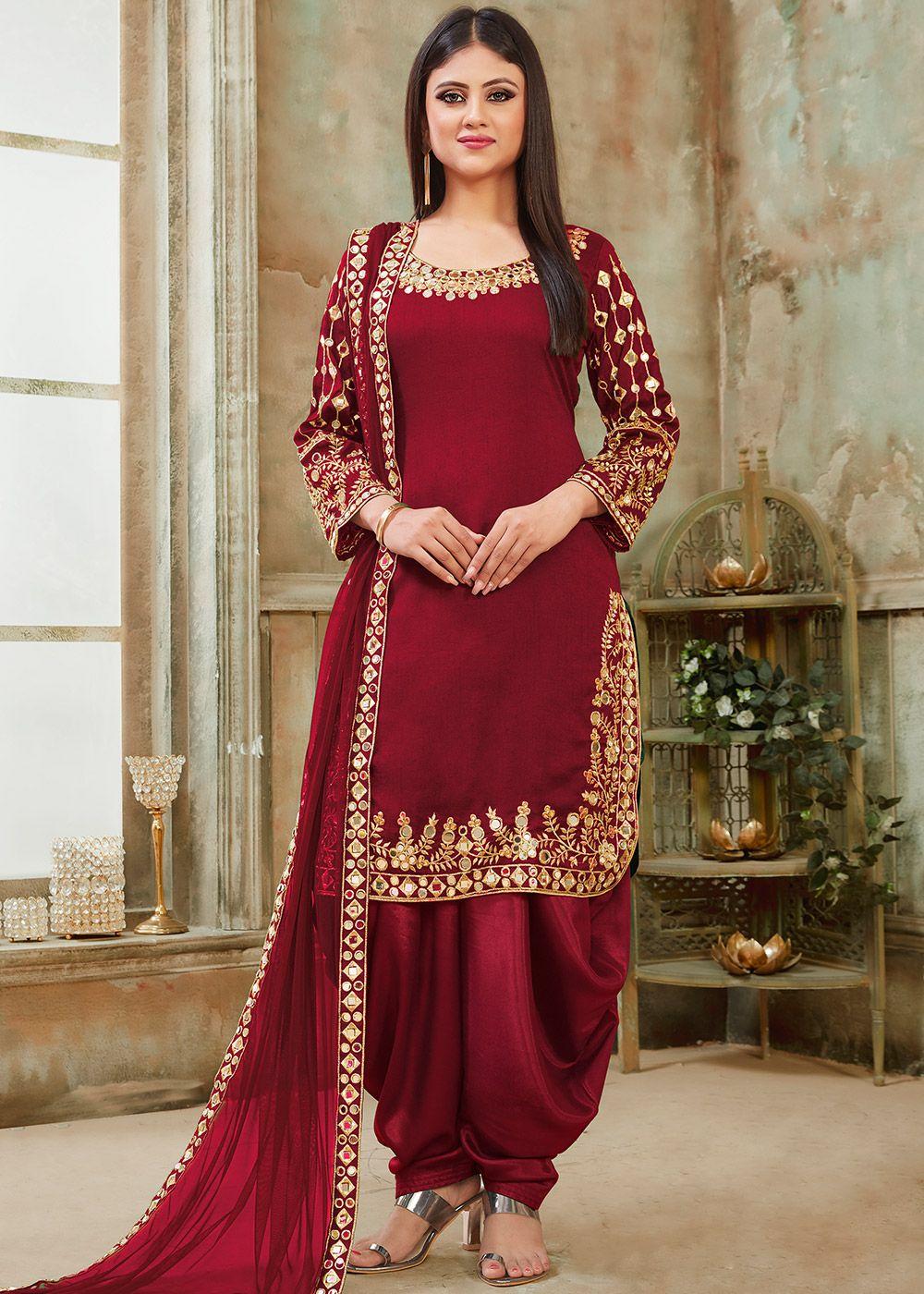 Maroon Art Silk Mirror Work Punjabi Suit in 2020 Punjabi