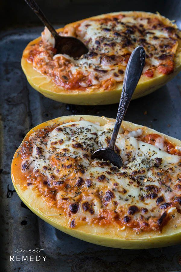 Spaghetti Squash Lasagna Bowls - great naturally gluten-free but decadent fall/winter meal. It's easy AND the dish-washing is easy since you can just toss the dish (i.e. the outside of the squash).