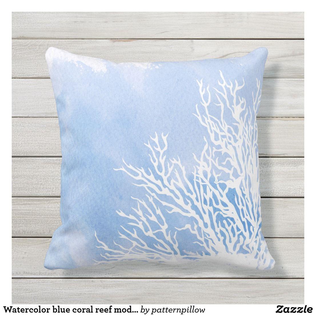 Watercolor Blue Coral Reef Modern Beach Summer Outdoor Pillow Zazzle Com Outdoor Pillows Coral Blue Summer Outdoor