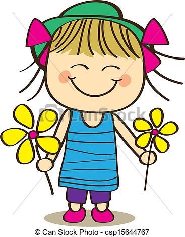 vector cute little girl stock illustration royalty free rh pinterest com