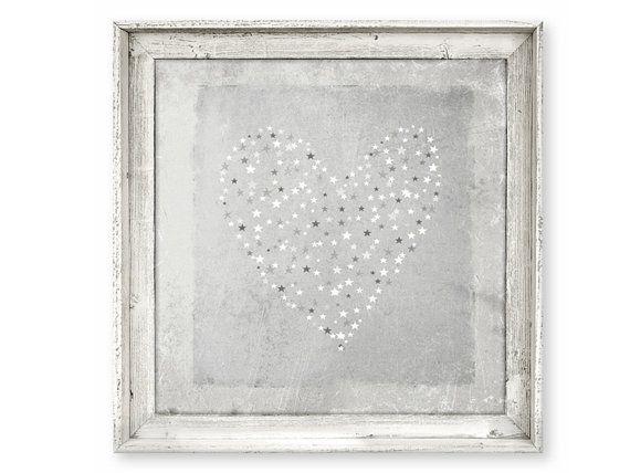 Rustic Barn Wood Framed Art Heart Stars by SweetGumballDesigns ...