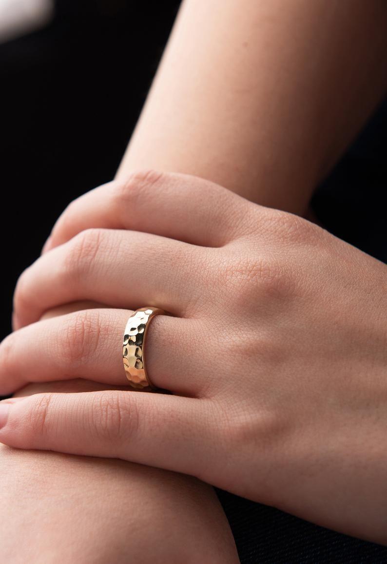 14k Solid Gold Hammered Wedding Ring Gold Textured Ring Etsy Hammered Wedding Rings White Gold Promise Ring Hammered Wedding Bands