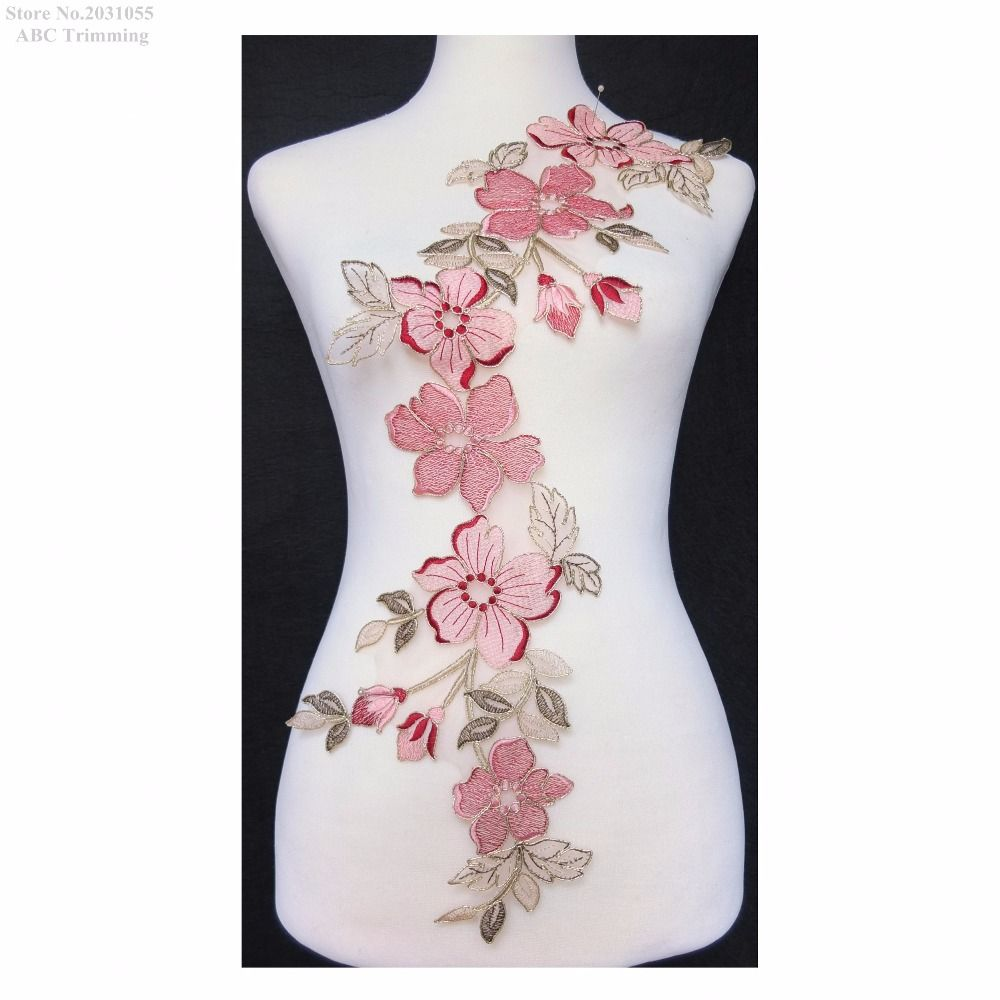 newest 1pc x pink/maroon/olive gree/gold flower embroidery lace