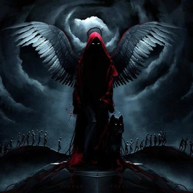 The Prayer Of The Red Lady Grim Reaper Art Art Demon Art