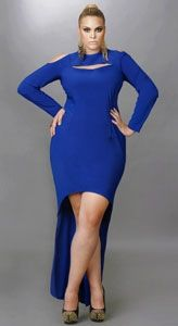 """Dana"" Exposed Shoulder High/Low Dress - Royal Blue"