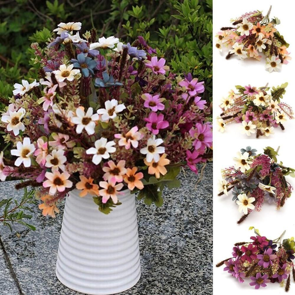 Details About 18 Heads Fake Silk Flowers Bouquet Artificial Daisy