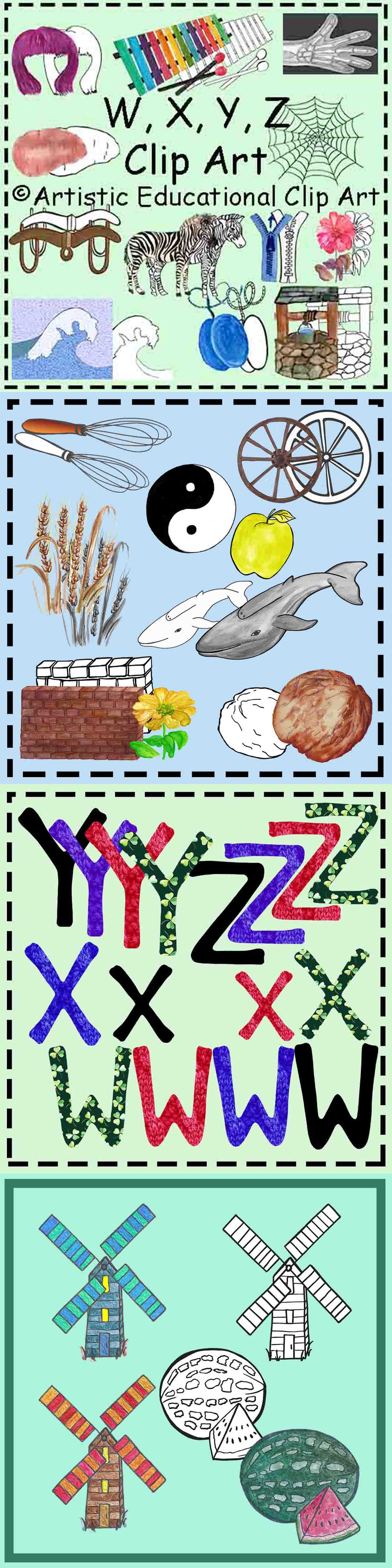 Q U V W X Y Z Wh Clip Art Initial Sounds Realistic