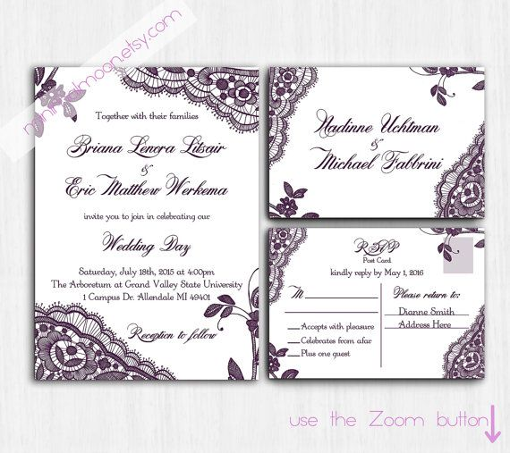 DIGITAL Lace Wedding Invitation, Plum Lace wedding invite, Printable Digital file, Wedding Invitation, purple Invite, response card, lace