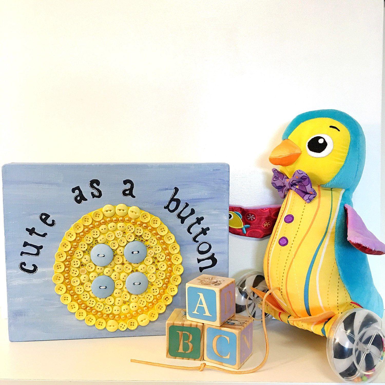 3D Wall Art Baby Gift Button Art,Swarovski Buttons,Cute as a Button ...