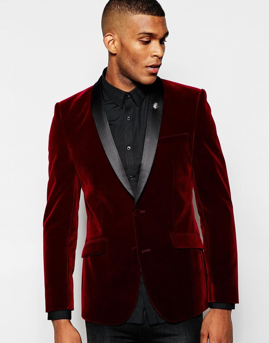 ASOS Skinny Smoking Jacket In Burgundy Velvet | Men's Suit ...