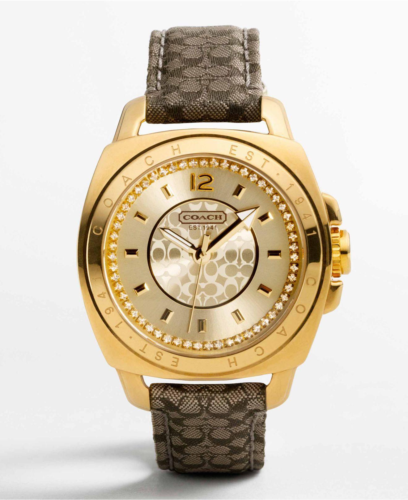 COACH BOYFRIEND KHAKI STRAP WATCH - Women's Watches ...