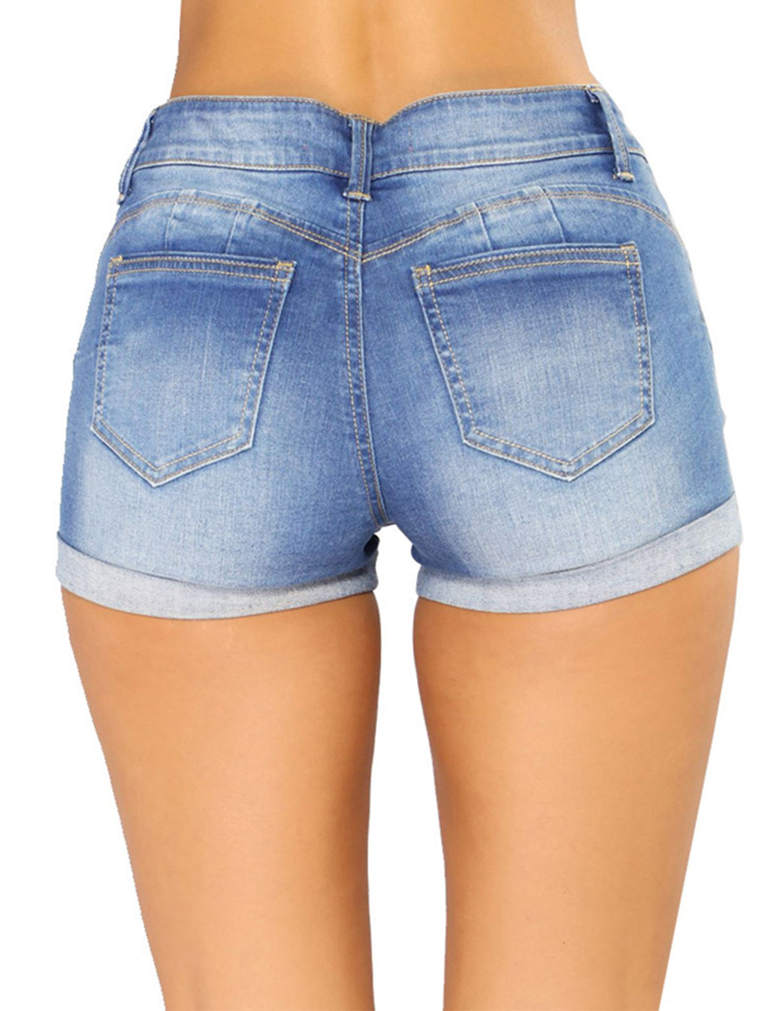 Domple Womens Summer Skull Print Split Ripped Low Rise Denim Shorts Jeans Hot Pants