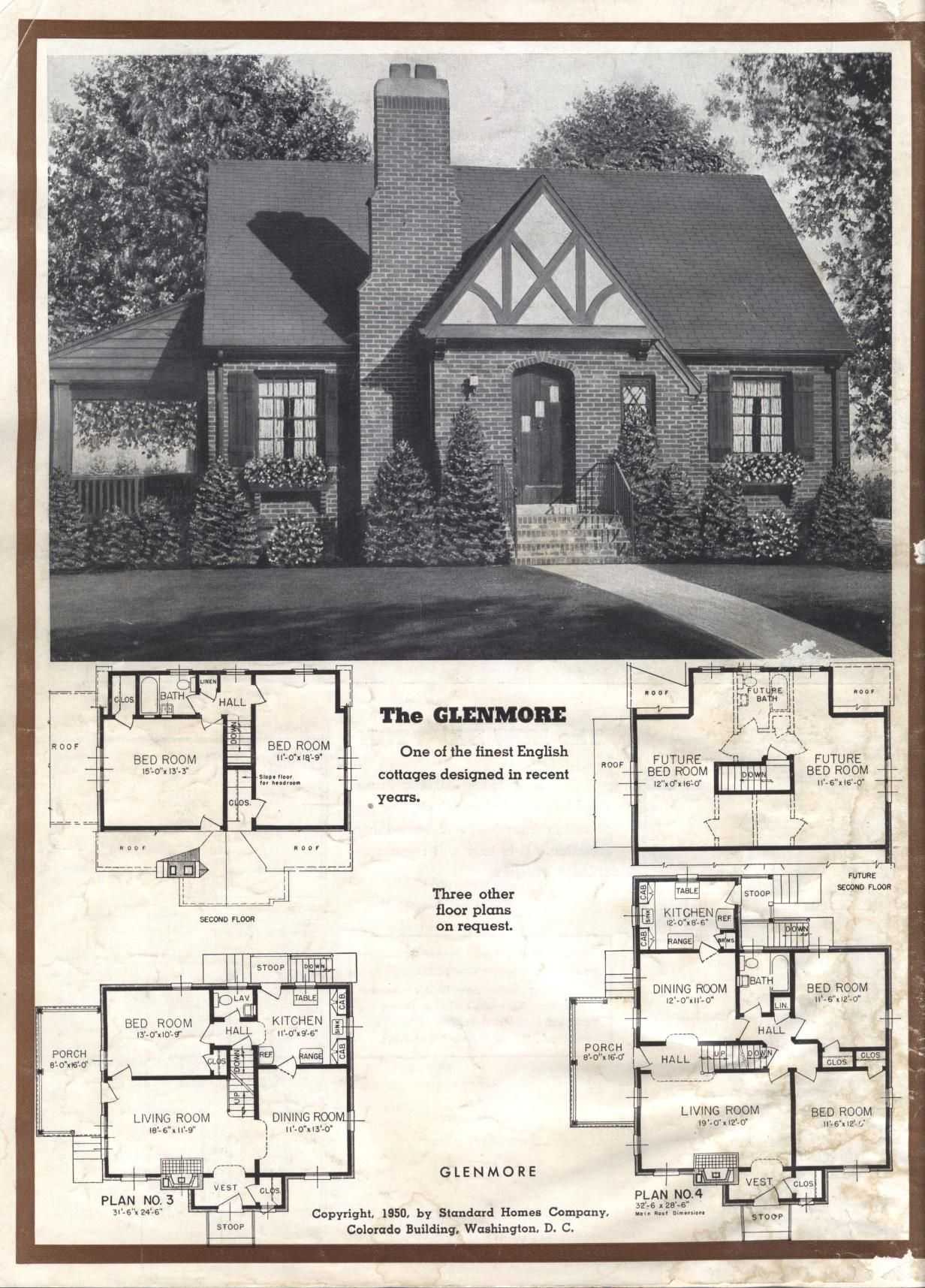 Better Homes At Lower Cost A 50 By Standard Homes Co Publication Date 1950 The Glenmore House Plans With Pictures Vintage House Plans Small House Floor Plans