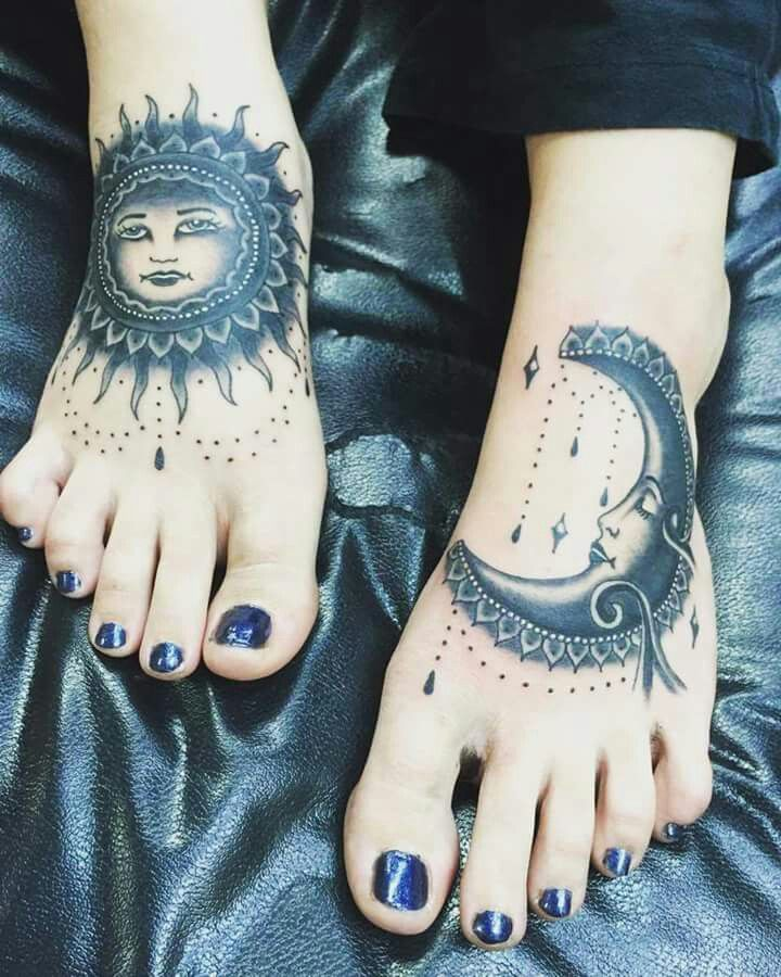 100 Gorgeous Foot Tattoo Design You Must See: My Sun And Moon Foot Tattoos