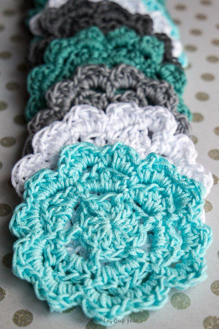 Easy Crochet Coasters Pattern for Beginners | Crochet coaster, Easy ...