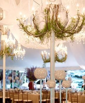 chandeliers with moss give tents an elegant rustic look