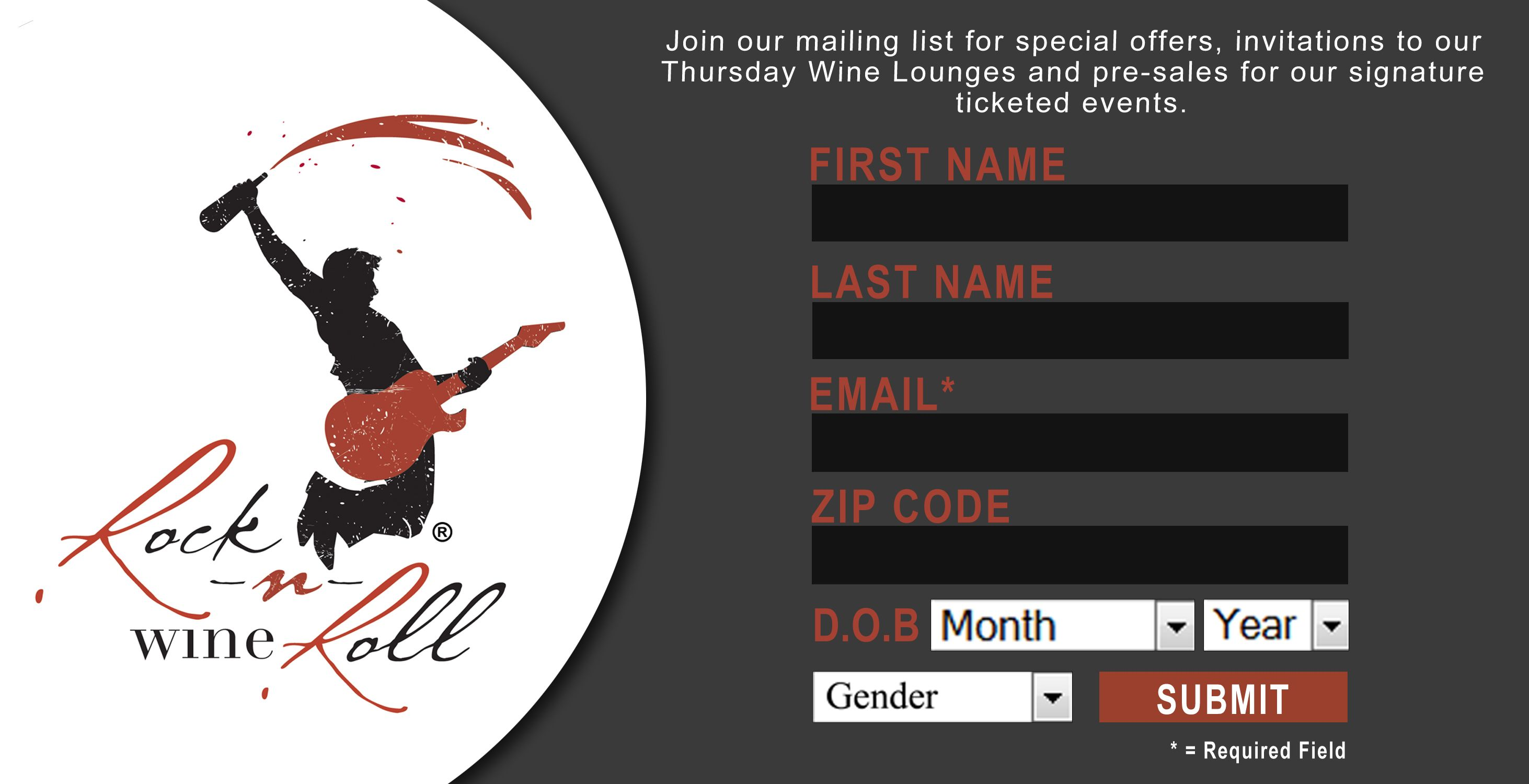 Beautiful sign up form for Rock n Roll Wine. #email www.icontact.com ...