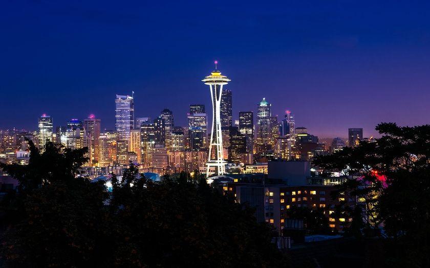 ночь, огни, здания, Сиэтл, красота, город