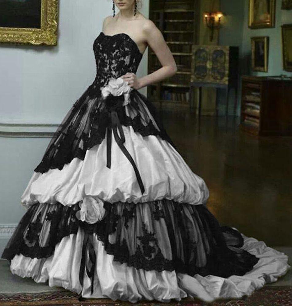 Vintage Long Ruffled Lace Gothic Wedding Dresses Black White Bridal Gowns Corset Handmade: Black Ruffled Wedding Dresses At Websimilar.org