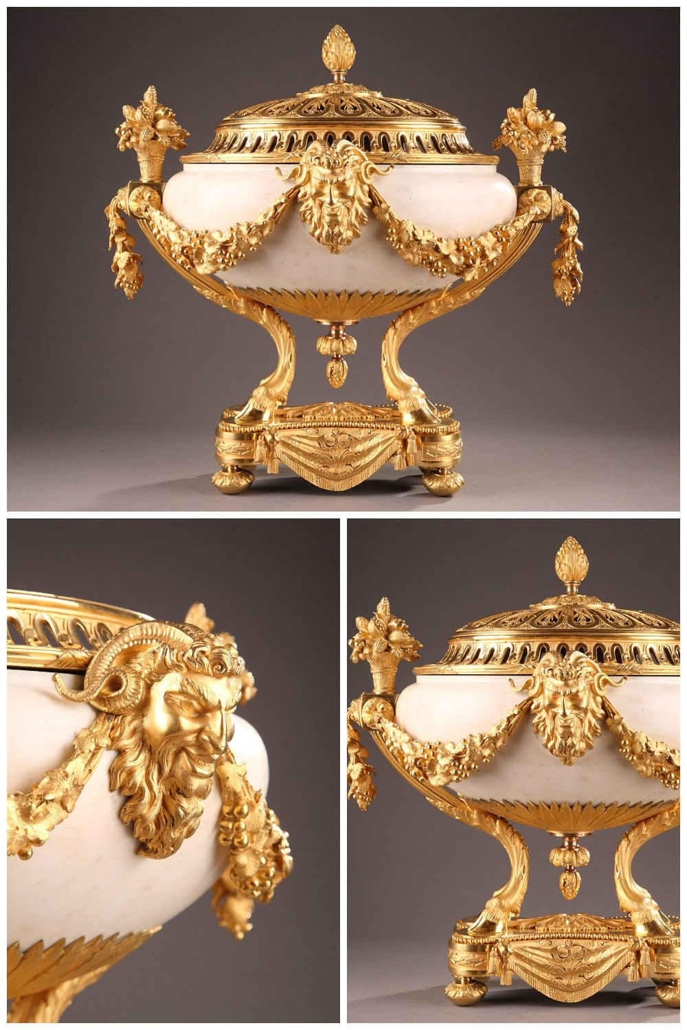 URN AND PERFUME BURNER IN WHITE MARBLE AND GILT BRONZE 1820