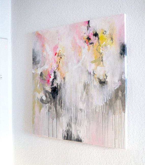 original large abstract painting pastels bright work of art acrylic painting delicate colors white pink grey modern canvas painting is part of Modern canvas painting - Original large abstract painting, pastels, bright work of art, acrylic painting, delicate colors, white pink grey, modern canvas painting Abstractart Acrylic