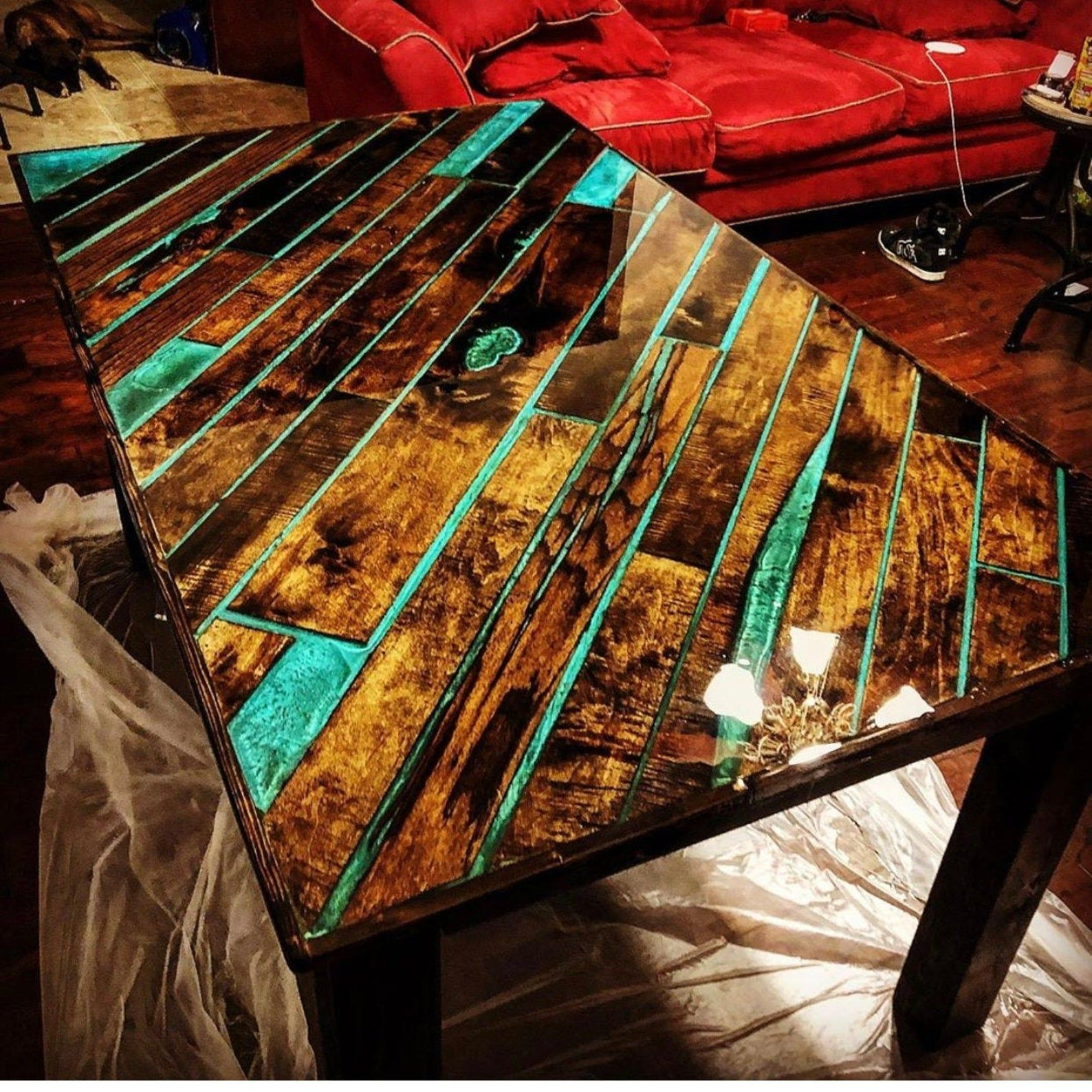 Epoxy and wood plank dinner table