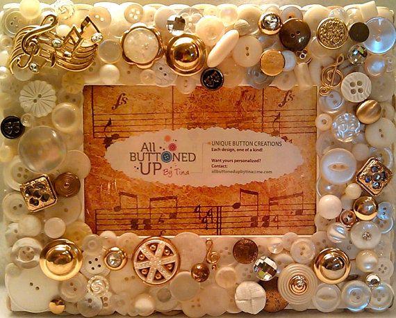 Reserved Custom Only Musical Button Frame Shabby Chic Art