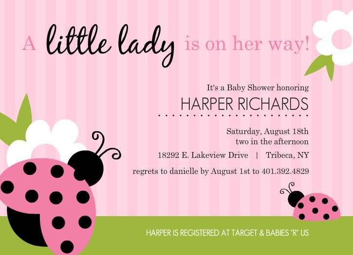 Pink And Green Lady Bug Girl Baby Shower Invitations By Purpletrail