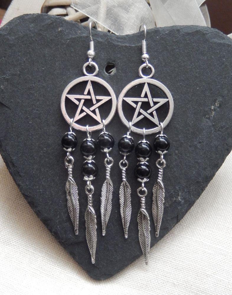 Pentagram Pentacle Dreamcatcher Black Bead Feather Drop Earrings Tribal Goth Uk