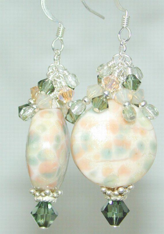 JBB Peach SHERBET Button HANDMADE Lampwork EARRINGS