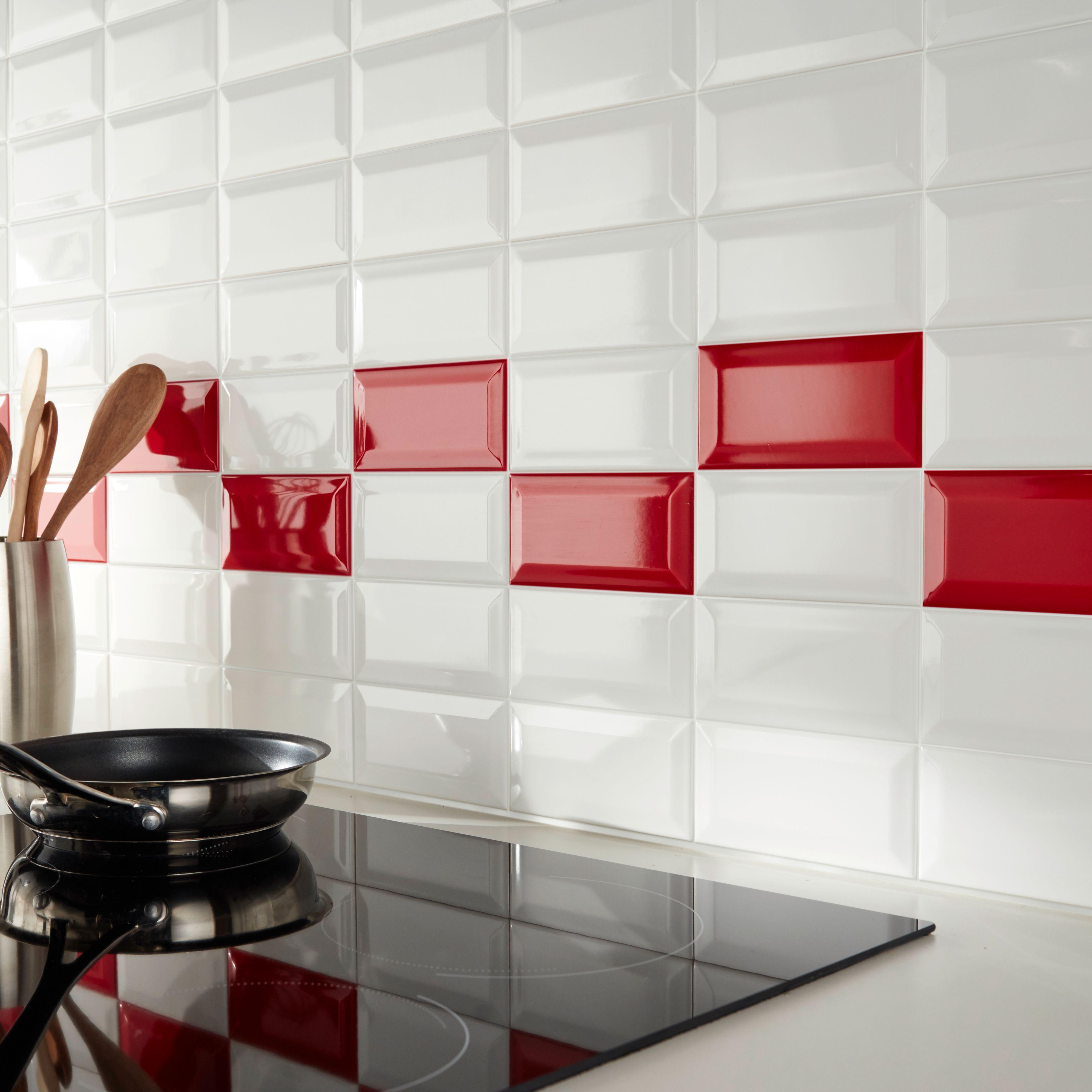 Trentie White Gloss Plain Ceramic Wall Tile 200x100mm 40 Per