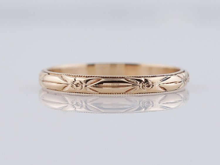 Wedding Band Art Deco Geometric Engraved In 14k Yellow Gold