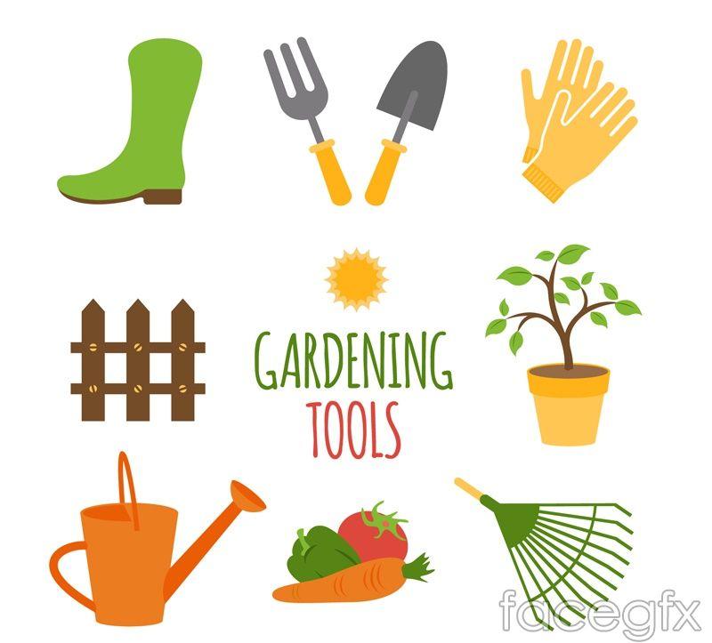8 Cartoon Gardening Tools Vector Garden Tools Garden Landscape