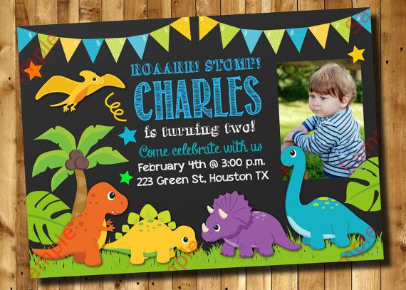 Dinosaur Birthday Invitation 1st 2nd 3rd Any Age by DigitAllParty