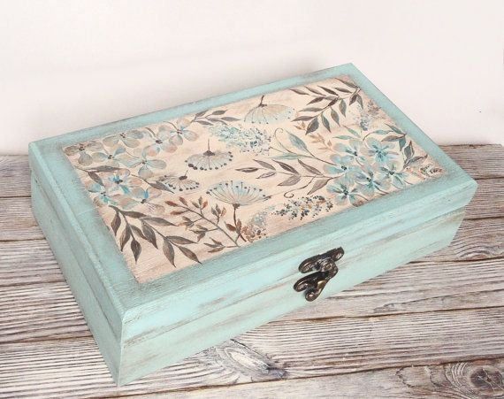 Jewelry Box El Paso Tea Box Mint Green Wooden Box Tea Bag Storage Hand Painted Jewelry