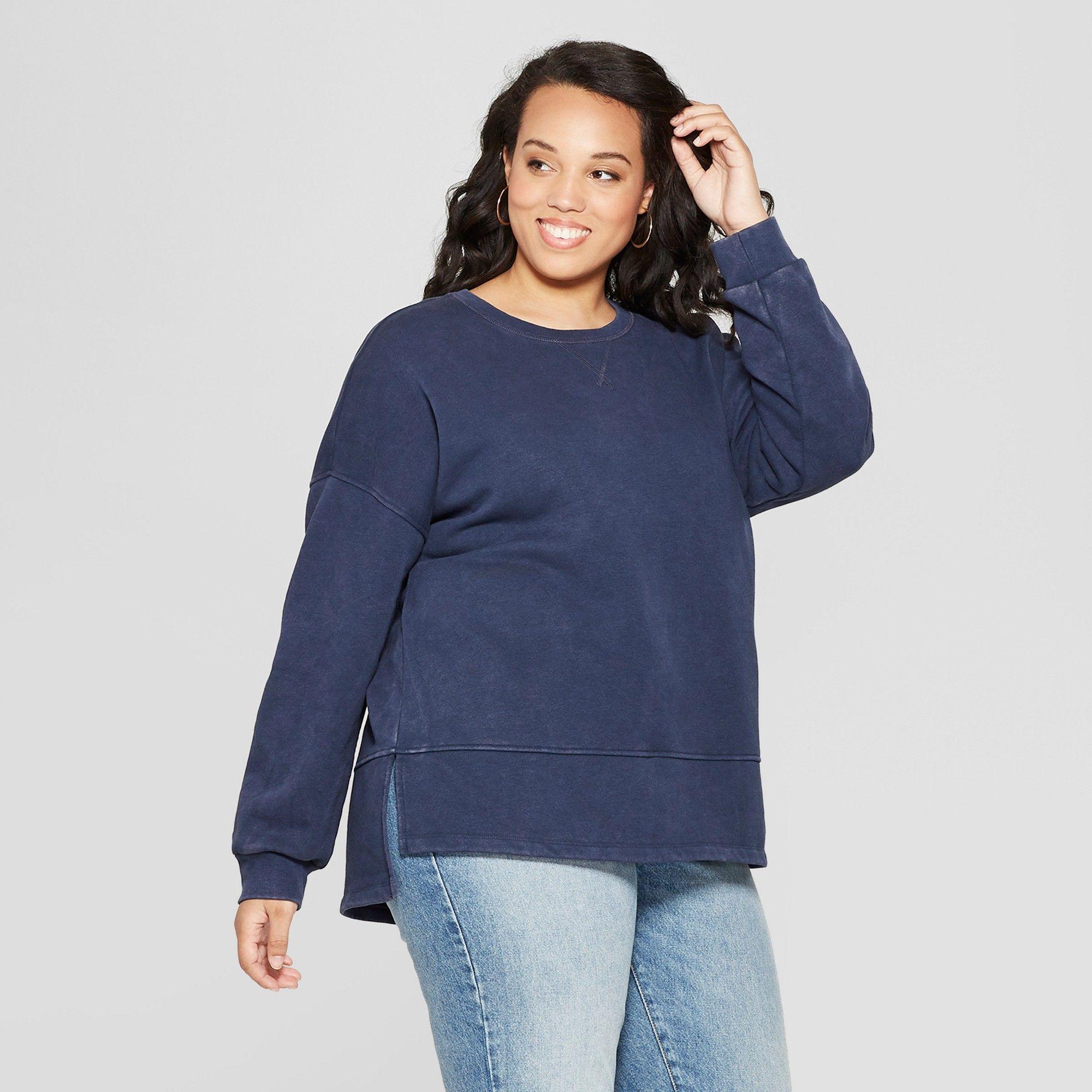 6bcfbd593e8 Women s Plus Size Tunic Long Sleeve Sweatshirt - Universal Thread Navy  (Blue) 1X