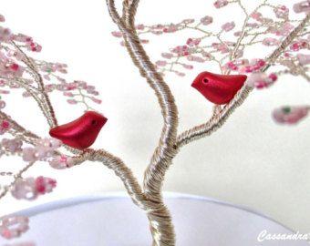 Cherry Blossom Beaded Bonsai Wire Tree Sculpture By Cassandraz Bonsai Wire Wire Tree Sculpture Tree Sculpture