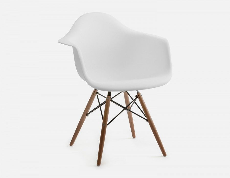 Eiffel White Chair With Armrests And Solid Beech Wood Legs
