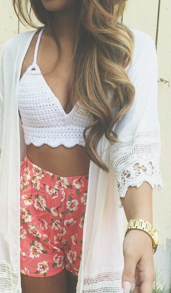 crochet tank & pink flower shorts.