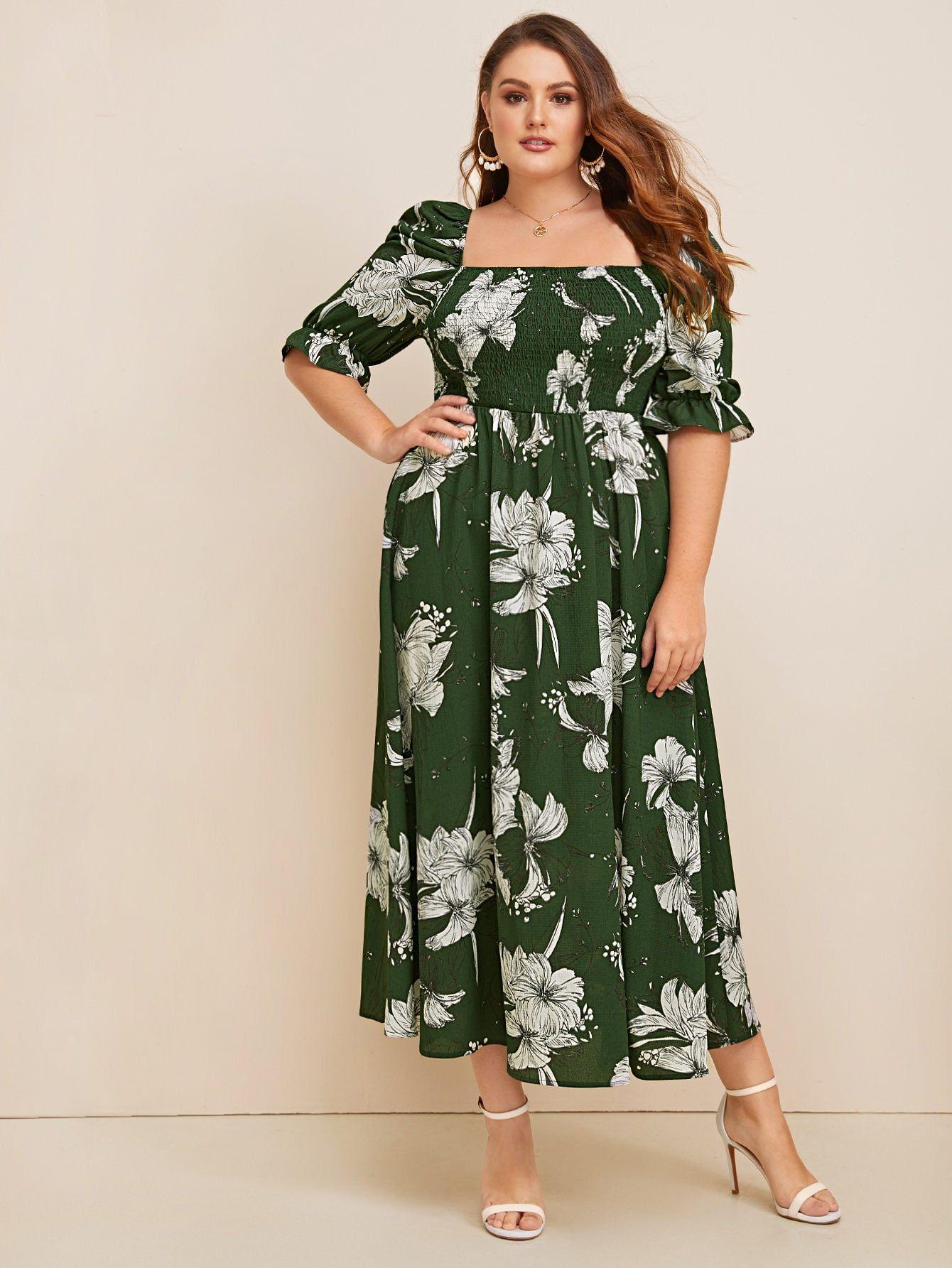Plus Puff Sleeve Shirred Botanical Print Smock Dress Sponsored Affiliate Shirred Sleeve Puff Plus Size Dresses Smock Dress Square Neck Dress