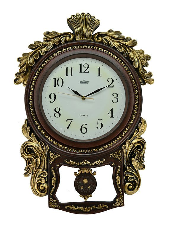 Polished Antique Polyresin Hand-Painted Table Clock w// Swinging Pendulum