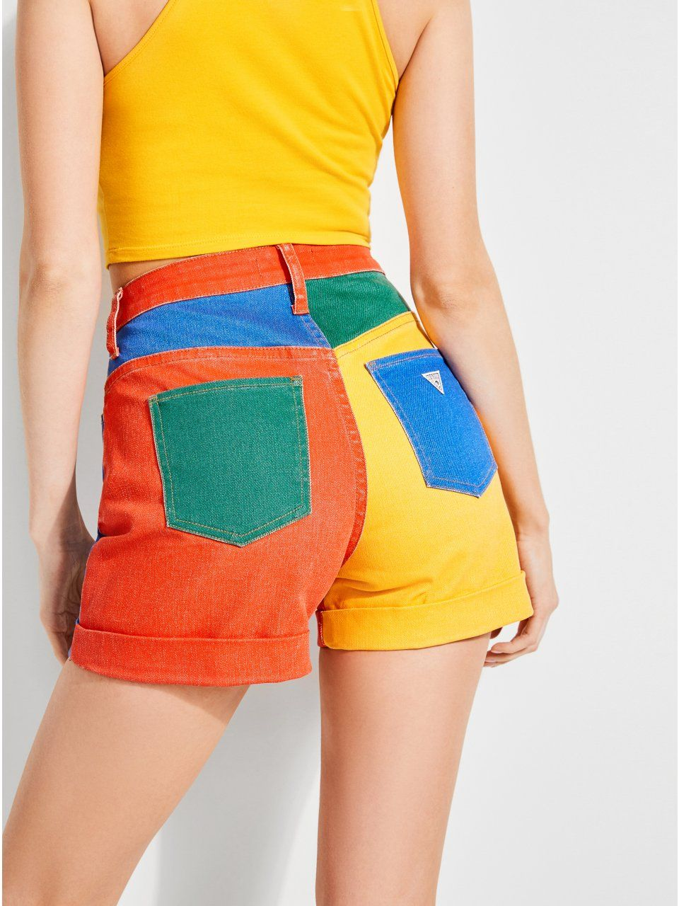 3ea05c85a74 GUESS x J Balvin High-Rise Color-Block Denim Shorts