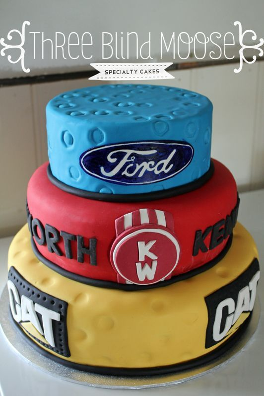 Ford Kenworth CAT 30th birthday cake male bright simple cake