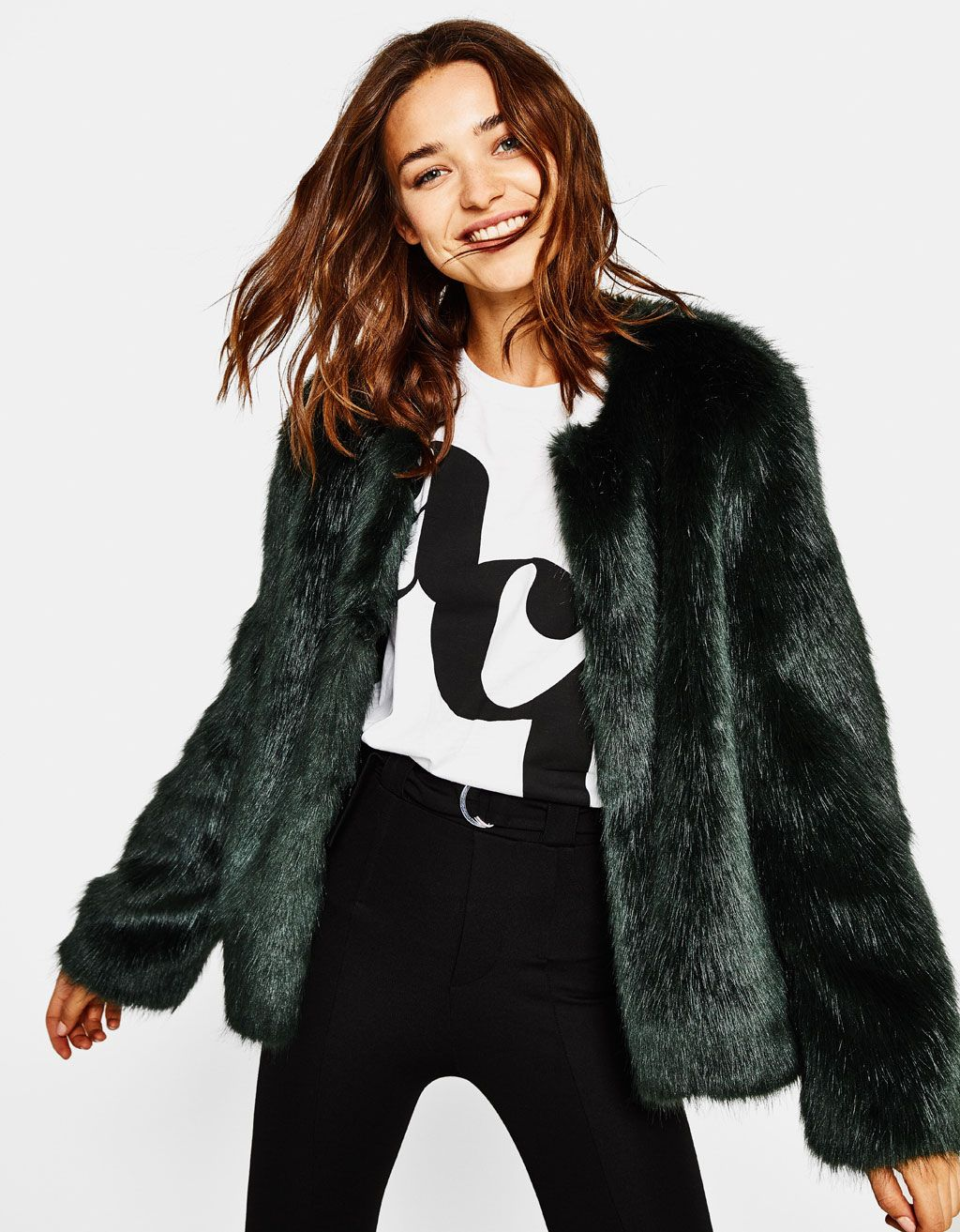 8243d6bf11 Short faux fur coat. Discover this and many more items in Bershka with new  products every week
