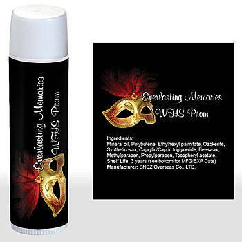 The Feathered Mask Lip Balm features a golden mask with a red feather on a black background. Add your custom wording.